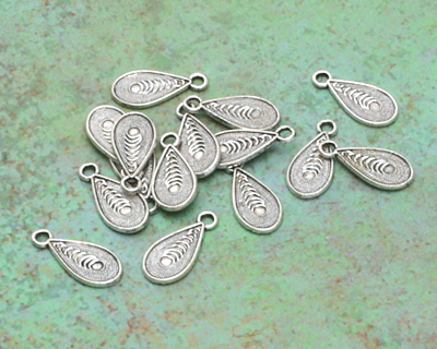 Zola Elements Antique Silver (plated) Scaled Drop Charm 9x20mm