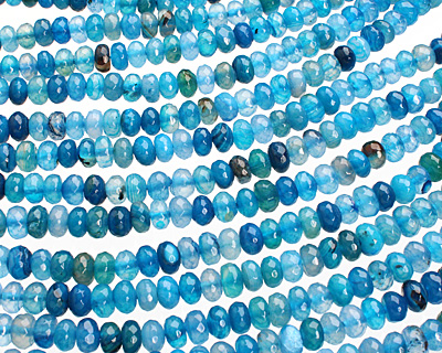 Sky Blue Agate Faceted Rondelle 8-9mm