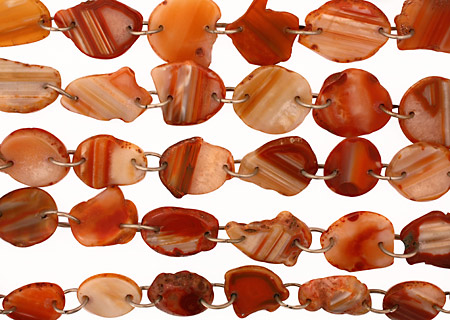 Orange Agate w/Rings Natural Edge Freeform Faceted Slab 25-44x20-28mm