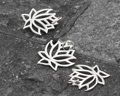 Nina Designs Sterling Silver Small Open Lotus Charm 15x19mm