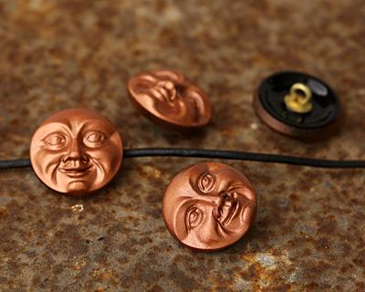 Czech Glass Copper Moon Face Button 17mm