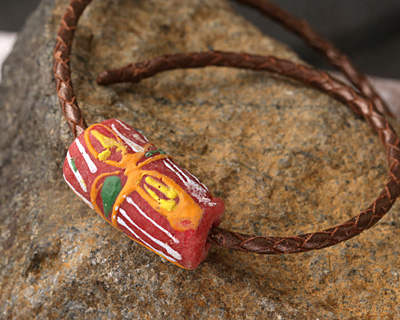 African Handpainted Coral Powder Glass (Krobo) Bead 24-28x14-16mm