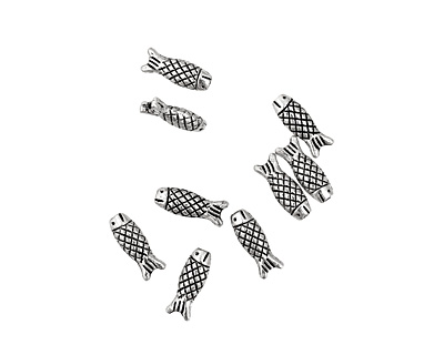 Pewter Criss Cross Fish 15x6mm