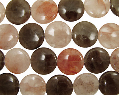 Multi Stone (Red & Smoky) Puff Coin 30mm