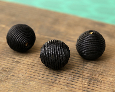 Black Thread Wrapped Bead 18mm