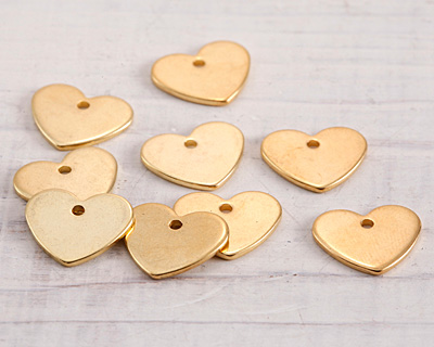 Gold (plated) Stainless Steel Heart Charm 13x11mm