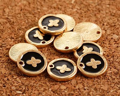 Zola Elements Jet Enamel Matte Gold Finish Cross Coin Focal 13mm