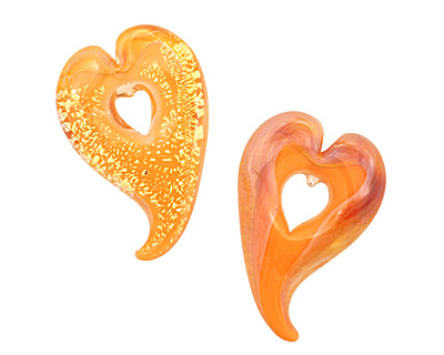Grace Lampwork Whispering Peach Heart Focal 27x38-41mm