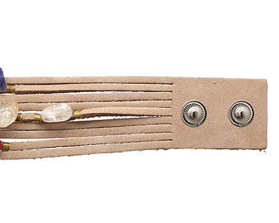 Natural Embellished Banded Leather Cuff 1 1/8