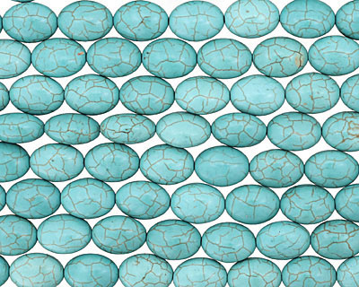 Blue Magnesite Flat Oval 18x13mm