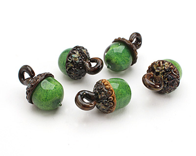 Grace Lampwork Grass Green Acorn Pendant 27-28x30-31mm