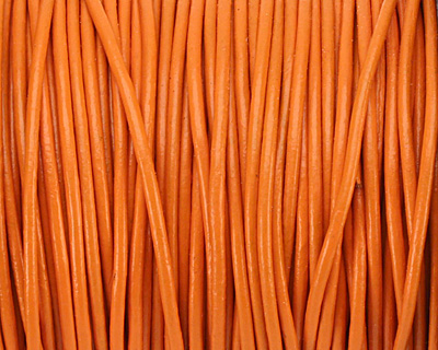 Orange Round Leather Cord 1.5mm