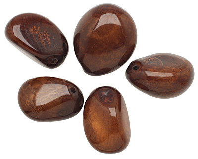 Tagua Nut Dark Brown Nugget (3-hole) 22-30x37-42mm