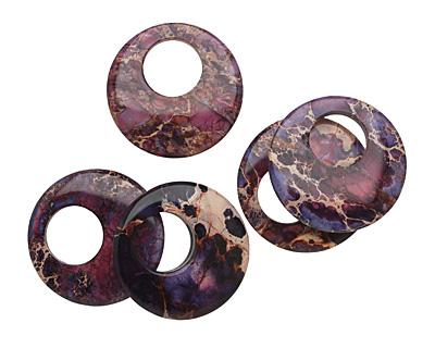 Purple Impression Jasper Coin Pendant 40mm