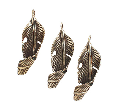 Saki White Bronze Spiral Leaf Pendant 16x46mm