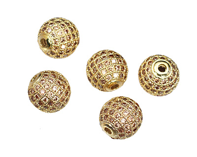 Gold (plated) & Light Peach CZ Micro Pave Round 10mm