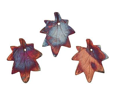 XAZ Raku Maple Leaf Pendant 37x45-47mm