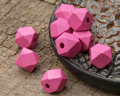 Pink Wood Faceted Nugget 10mm