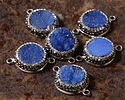 Sky Blue Druzy w/ Pave Wrap Coin Focal Link Set in Silver Finish 27x20mm
