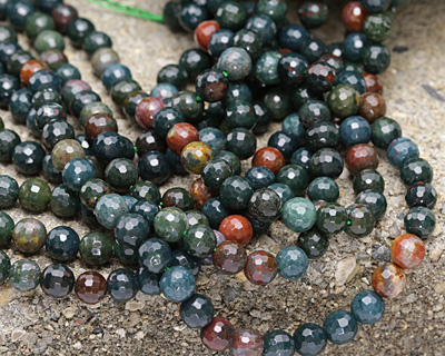 Bloodstone Faceted Round 8mm