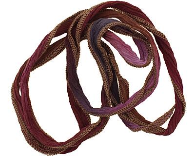 Botanical Gardens w/ Khaki Edges Hand Dyed 100% Silk Ribbon 1/2