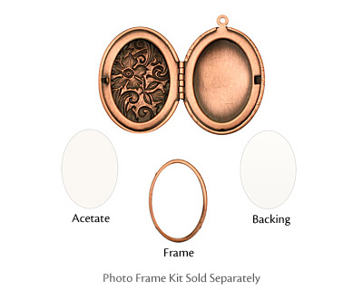 Antique Copper (plated) Oval Garden Heirloom Locket 33x47mm