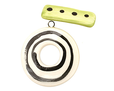 Jangles Ceramic Zebra/Wow Toggle Clasp 38-40x42-43mm, 35mm bar