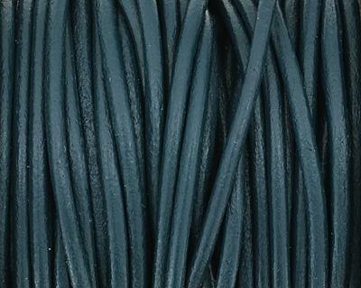 Iris Blue Round Leather Cord 2mm