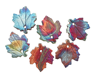 Xaz Raku Small Maple Leaf Pendant 28-30x31-34mm