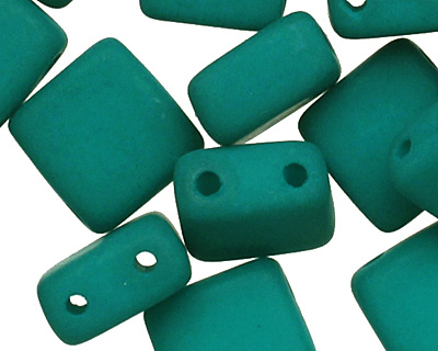 Czech Glass Dark Neon Emerald 2-Hole Tile 6mm