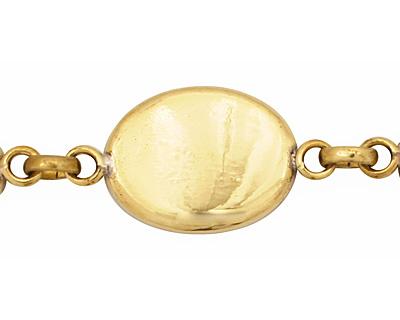 Brass Oval Bezel Link Bracelet 24x18mm