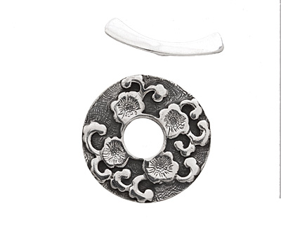 Saki Sterling Silver Sakura Toggle Clasp 33mm, 31mm bar