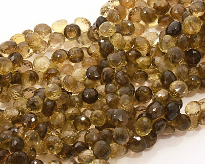 Smoky Quartz (yellow) Faceted Onion 9-10x8-9mm