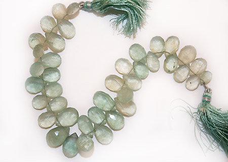 Green Fluorite Graduated Color Faceted Flat Teardrop 7-10x9-13mm