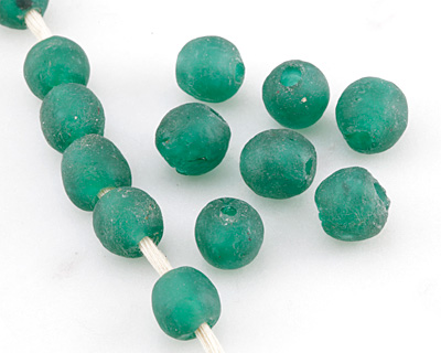 African Recycled Glass Emerald Green Tumbled Round 8-10mm