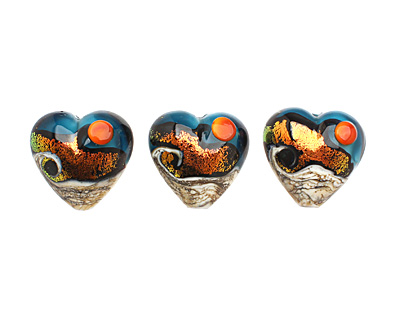 Grace Lampwork Romantic Isle Waves Heart 19-20mm