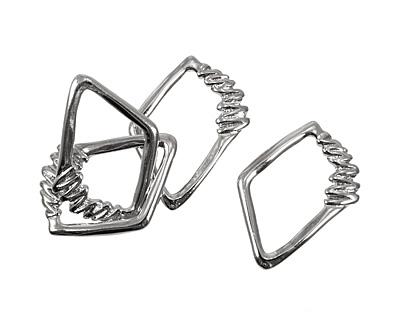 Silver (plated) Irregular Diamond w/ Zigzag 40x30mm