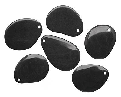 Tagua Nut Black Groovy Slice 25-35x30-42mm