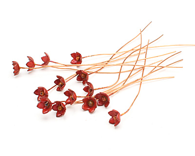 C-Koop Enameled Metal Flame Red Small 5 Petal Headpin 9-10mm