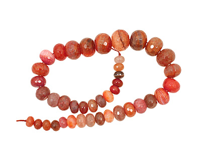 Rustic Orange Line Agate Faceted Rondelle Graduated 7-16x10-20mm