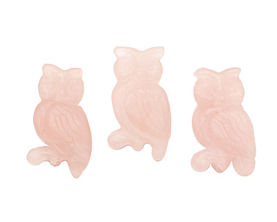 Rose Quartz (matte) Carved Owl 33-35x18-20mm