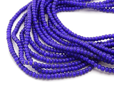 African Trade Beads Cobalt Blue White Heart Glass 4-5x6mm