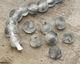 African Recycled Glass Storm Gray Tumbled Round 12-16mm
