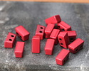 Red Enamel 2-Hole Tile Thin Rectangle Bead 4x8mm