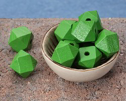 Kelly Green Wood Faceted Nugget 20mm