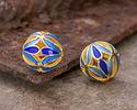 Cloisonné Blue & Aqua w/ Gold Finish Openwork Petals Round Bead 11.5mm