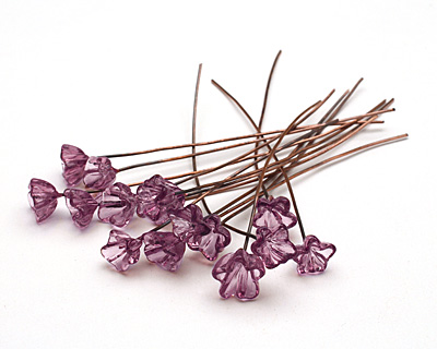 Painting with Fire Transparent Purple Glass Flower Headpin 9-10mm