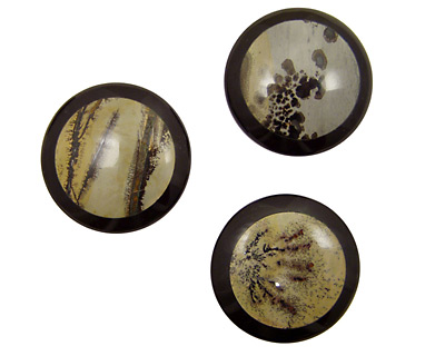 Artistic Stone Inlayed in Black Coin Cabochon 38mm