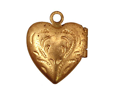 Brass Tiny Pressed Heart Heirloom Locket 13x15mm