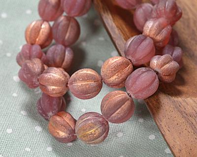 Czech Glass Matte Textured Desert Rose w/ Copper Luster Melon Round 12mm